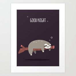 Sloth card - good night Art Print