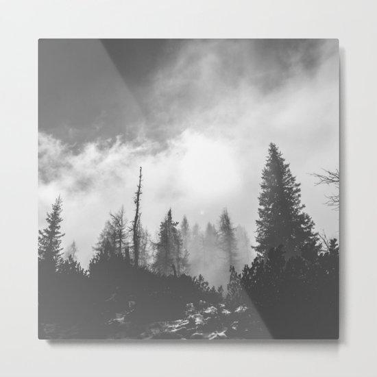 Dark & Eerie Forest (Black & White) Metal Print