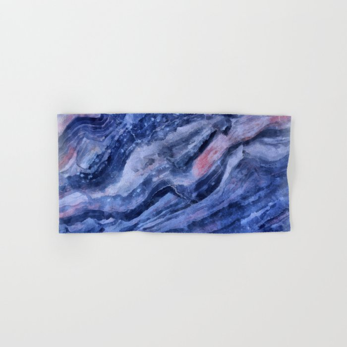 Blue watercolor marble Hand & Bath Towel