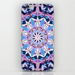 blue grey white pink purple mandala iPhone Skin