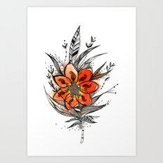 Bronze flower Feather Art Print