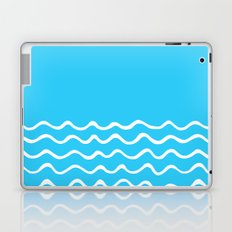 Simple aqua and white handrawn waves 1 - for your summer on #Society6 Laptop & iPad Skin