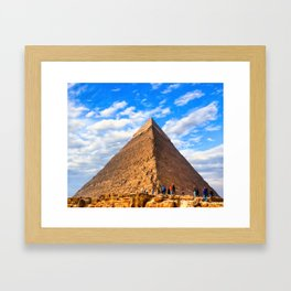 Dwarfed By History - Standing Before An Egyptian Pyramid Framed Art Print