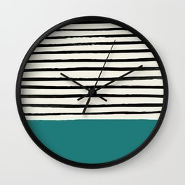 Teal x Stripes Wall Clock
