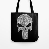 punisher Tote Bags featuring Punisher  by christoph_loves_drawing