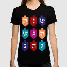 Colorful Hanukkah Dreidels with Hebrew Letters Jewish Festival of Lights T-shirt