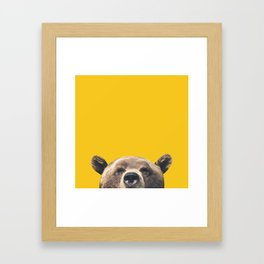 Bear - Yellow Framed Art Print
