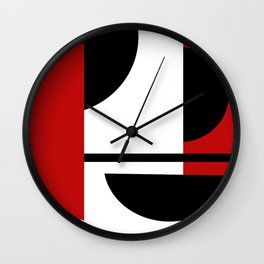 Red & Black Geometric Circle Abstraction Wall Clock