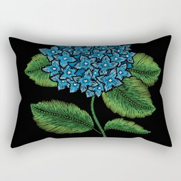 Embroidered Flowers on Black 05 Rectangular Pillow