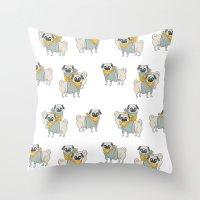 pugs Throw Pillows featuring Pugs by Ann Rubin