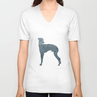 greyhound V-neck T-shirts featuring Greyhound by Three Black Dots