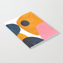 Mid Century Modern Abstract Minimalist Retro Vintage Style Pink Navy Blue Yellow Rollie Pollie Ollie Notebook