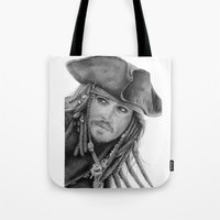 jack sparrow Tote Bags featuring Captain Jack Sparrow by Celeste Roddom