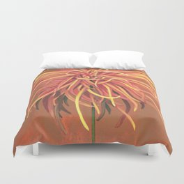 Big Orange Pop Art Chrysthanthemum Duvet Cover