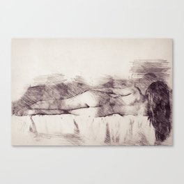 Lying on the bed. Nude studio Canvas Print