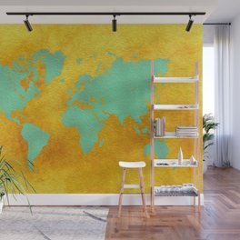 world map gold green #worldmap #map Wall Mural