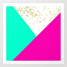 Stylish neon pink turquoise color block gold girly Art Print