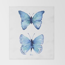 Two Blue Butterflies Watercolor Throw Blanket