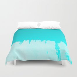 Modern turquoise ombre white abstract watercolor brushstrokes Duvet Cover