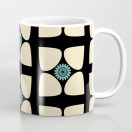 Tear Drop Flower Petals Inset Sunflower Graphic Teal Cream Black Coffee Mug