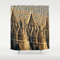 vienna Shower Curtains featuring Stephans Dom Vienna by BACK to THE ROOTS