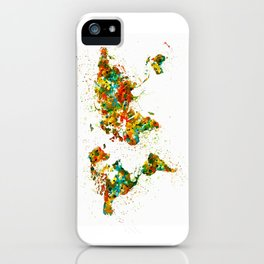 Map of the World watercolor iPhone Case