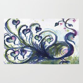 Pink Hearted Peacock watercolor by CheyAnne Sexton Rug