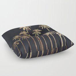 Glamorous Gold Tropical Palm Trees on Black Floor Pillow