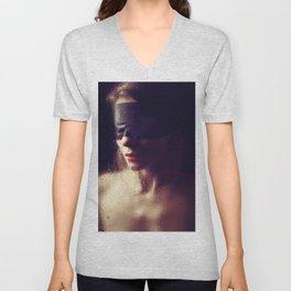 Beautiful woman Blindfolded Unisex V-Neck