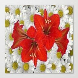 RED AMARYLLIS WHITE DAISIES FLORAL ART Canvas Print