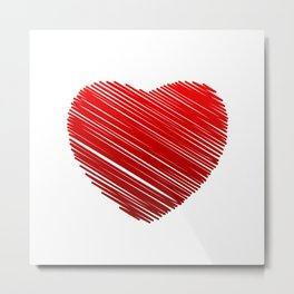 Scribbled red valentine heart- be my valentine Metal Print
