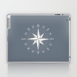 Compass in White on Slate Grey color Laptop & iPad Skin