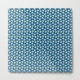 White flowers on indigo Metal Print