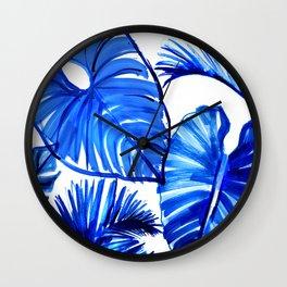Bright Blue Jungle Leaves Wall Clock