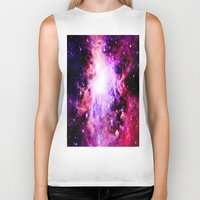 nebula Biker Tanks featuring Orion NebuLa. Purple Fuchsia Galaxy by 2sweet4words Designs