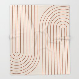 Minimal Line Curvature - Coral II Throw Blanket