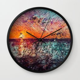 Caribbean sunset Wall Clock