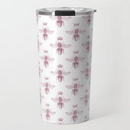 Pink Queen Bee Pattern Travel Mug