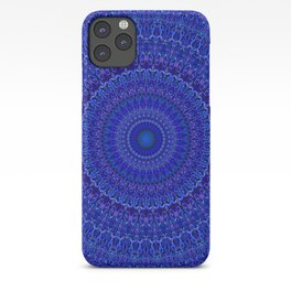 Blue Psychedelic Floral Mandala iPhone Case