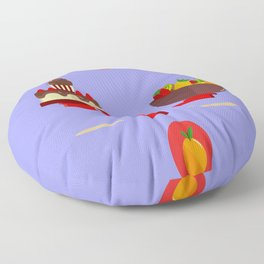 Cakes Versus Fruits Over A Seesaw Floor Pillow