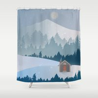 cabin Shower Curtains featuring Cabin by Eric-Bird