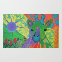 Whimsical Abstract Giraffe in Jewel Tone Colors Green Aqua Purple Blue Yellow Rug