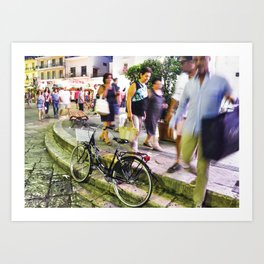 Italian Summer time - biciclette at the piazza Art Print