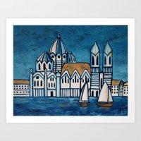 italy Art Prints featuring italy by Ninamelusina