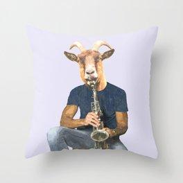 Goat Musician Throw Pillow