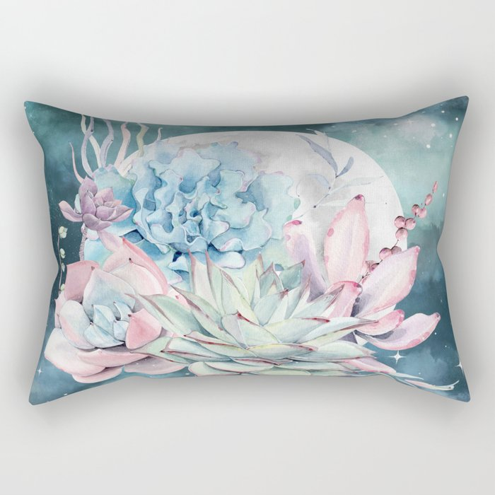 Beautiful Succulents Full Moon Teal Pink Rectangular Pillow