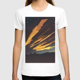 Sunrise cartoon landscape and comet tails T-shirt