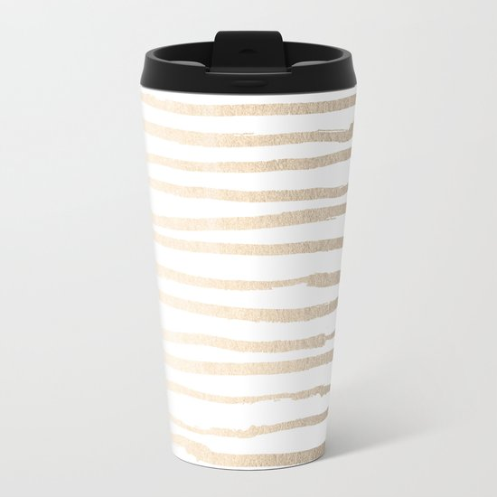 White Gold Sands Painted Lines Metal Travel Mug