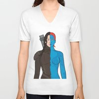katniss V-neck T-shirts featuring Katniss-Mystique by richoz