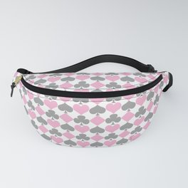 Playing Cards Pattern Pink Grey on White Fanny Pack